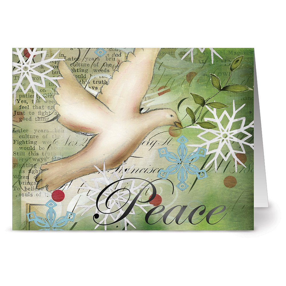 24 Holiday Note Cards - Dove of Peace - Blank Cards - Green Envelopes Included