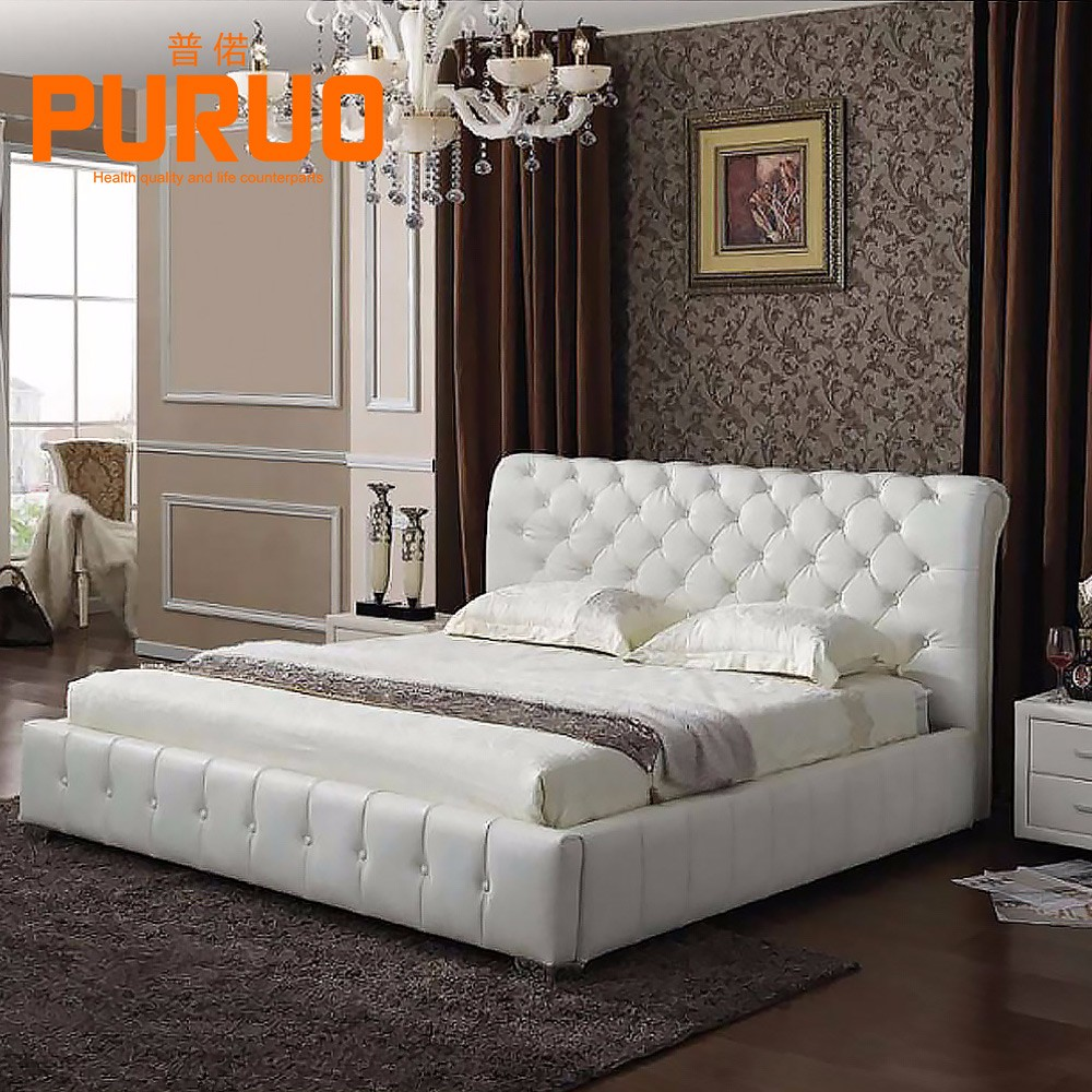 B-A029# living room furniture white wooden box leather soft bed