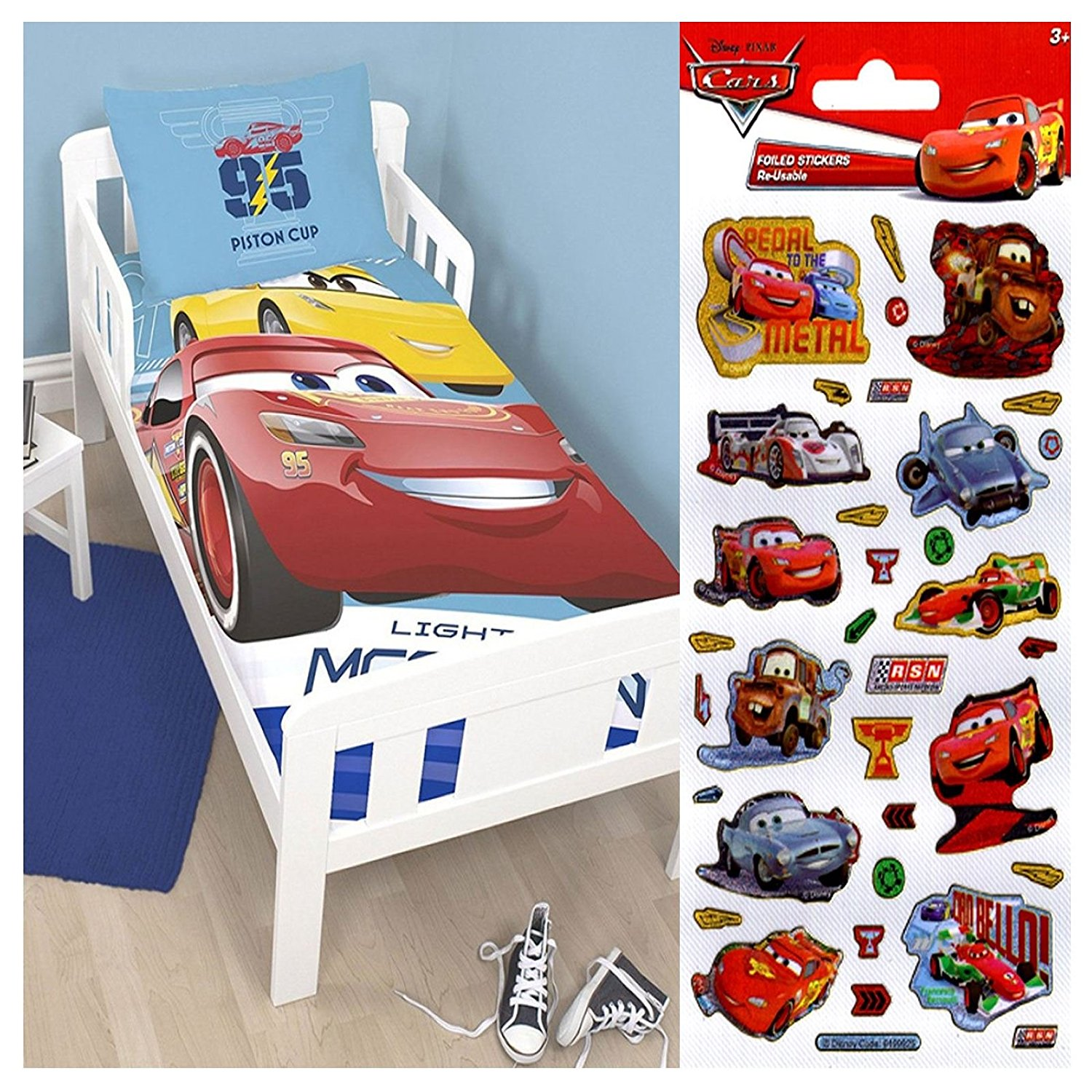 Disney Cars 3 Lightning UK Junior/US Toddler Panel Duvet Set + Disney Cars Small Foil Stickers