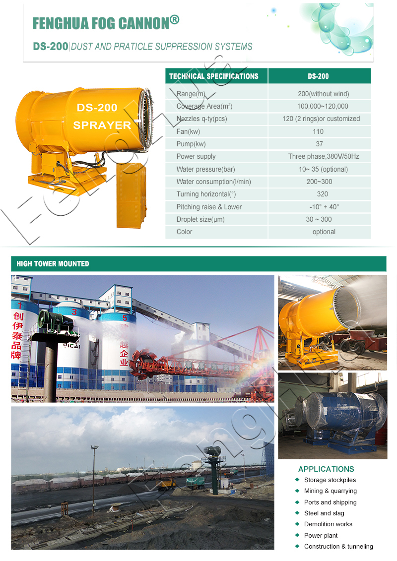 Port facility usage 200 meters throw distance Dust suppression fog cannon