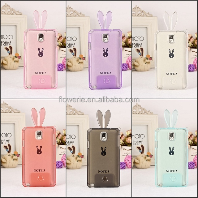 For Apple <strong>iPhone</strong> 5 5s 4 Samsung S5 Note 3 Wholesales Clear Crystal Soft TPU Bunny Rabbit Case
