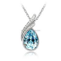 blue waterdrop Austrian crystal necklace, simple nice turkish evil eye necklaces