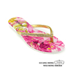 PVC sole summer thong rhinestone ornament flat slippers kid's flip flops