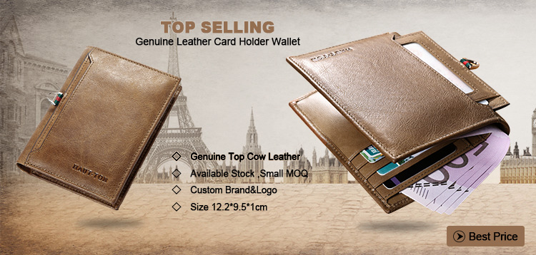2018 Hautton High Quality Vintage Top Leather Popular Custom leather Card Holder Mens Wallet