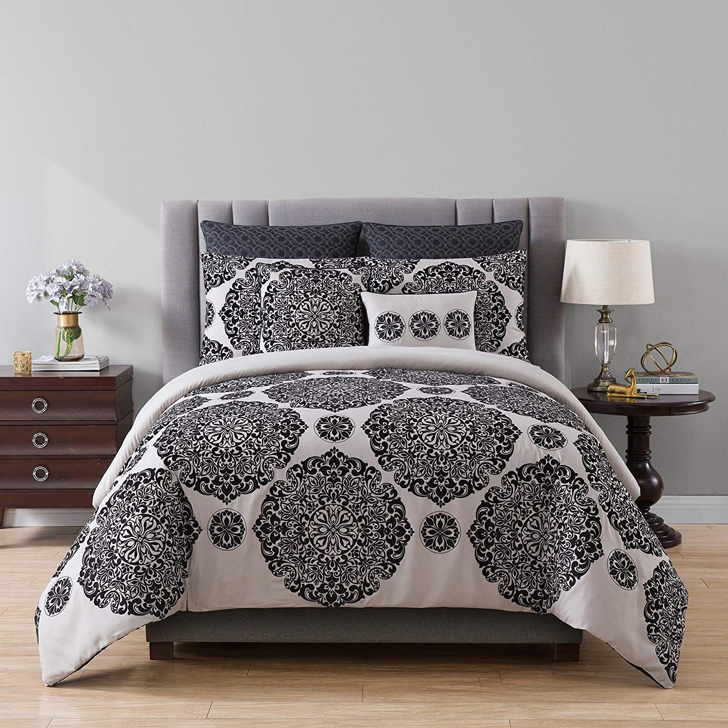 7 Piece Taupe Brown Large Medallion Comforter Full Queen Set, Black Bohemian Themed Floral Moroccan Mandala Framing Motif Pattern, Flocked Textured Reversible Brown Adult Bedding Bedroom, Polyester
