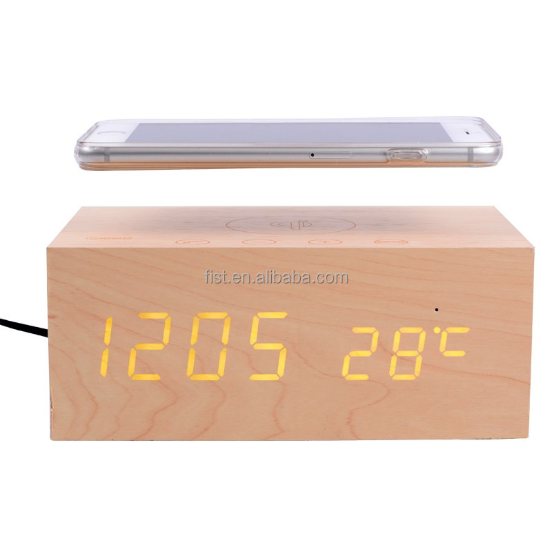 2015 classical style wood bluetooth speaker+qi wireless charger+clock+alarm+thermometer for christmas gift