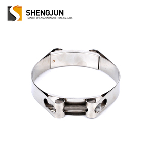 High quality automotive factory price stainless steel double bolt heavy duty hose clamp