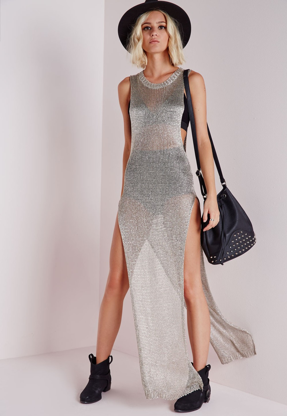 6f57f89d61c6 100%polyester metallic knitted maxi dress silver color long side split high  cut sex maxi