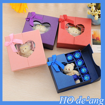 2016 Best Birthday Gift For Girlfriend 16 Pcs Flower Shape Soap With Box Pink Blue