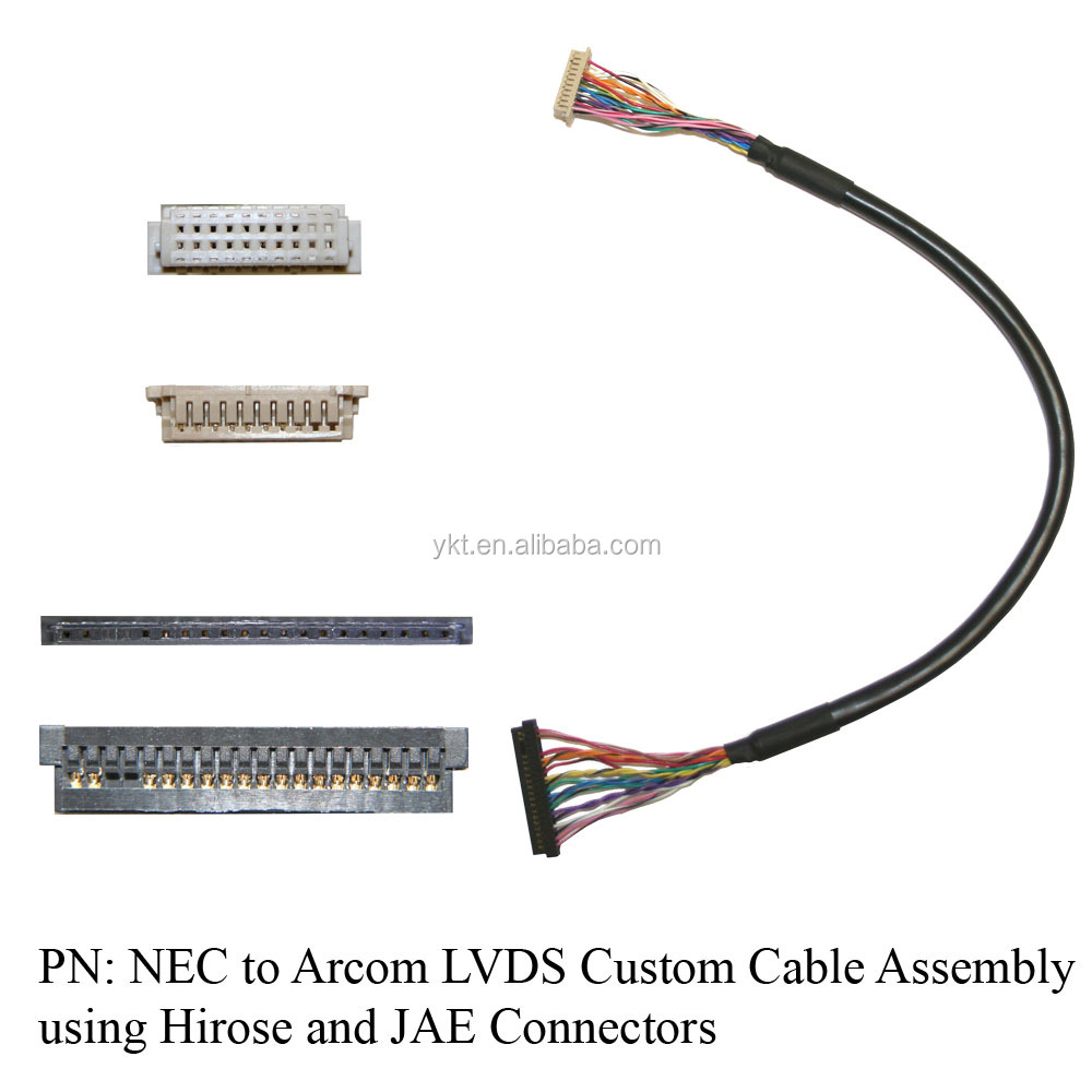 NEC to Arcom LVDS Custom Cable Assembly using Hirose and JAE Connectors