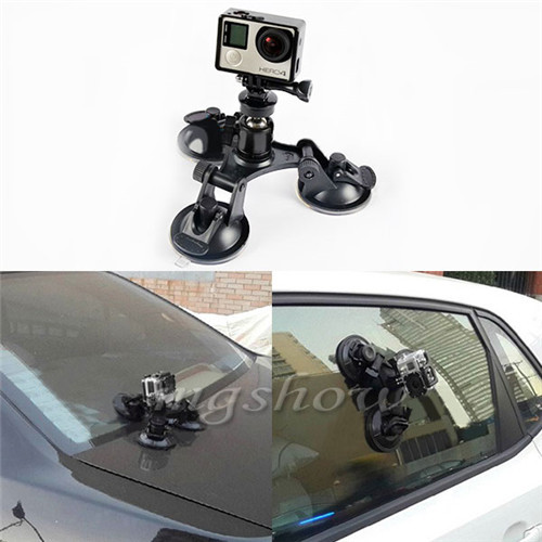 Hot ! GoPro Car Suction Cup Window Glass Tripod 3 Suction Cup Gopro Hero 2 3 3+ 4 Camera GoPro accessories