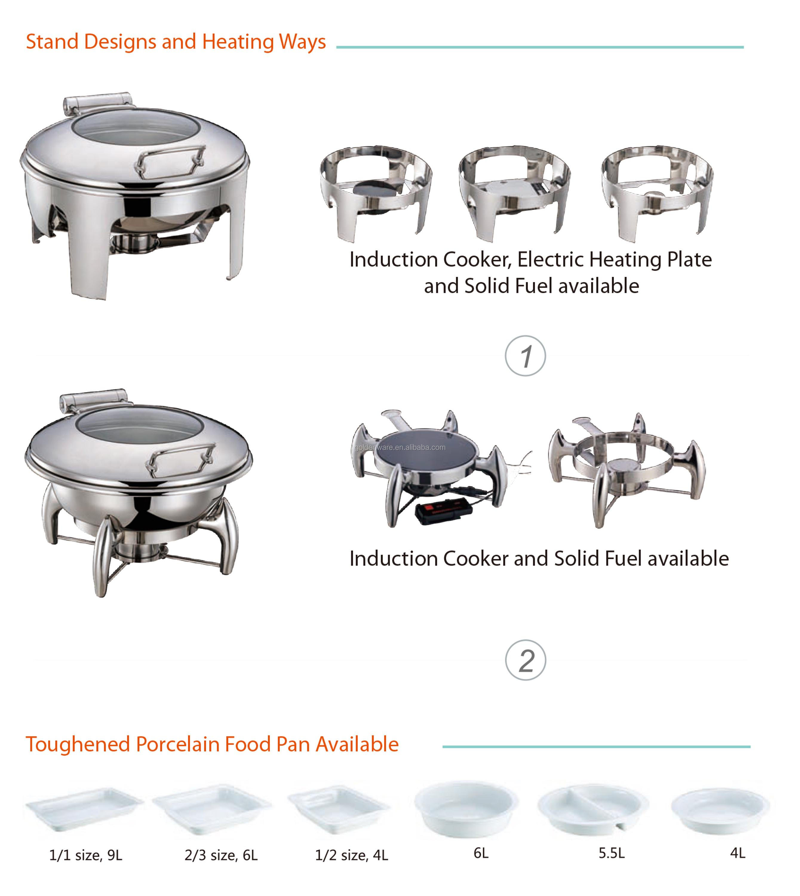 Golden Ware High Mirror Polishing Stainless Steel buffet electric hydraulic roll top chafing dish