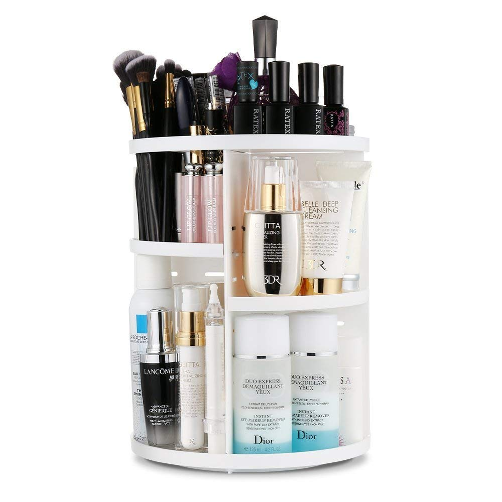 Makeup Organizer 360 Degree Rotating Adjustable Cosmetics Multi-Function Cosmetic Storage Unit, Large Capacity Fits Different Types of Bath Counter Bathroom Cosmetics and Accessories (White)