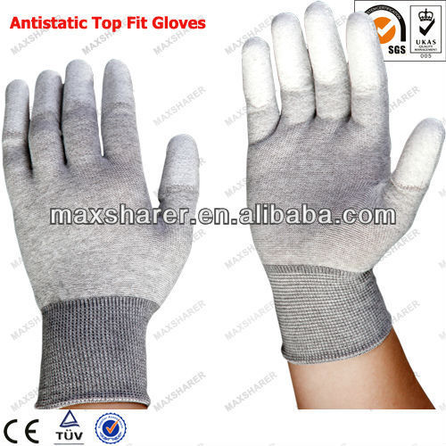 Nylon esd top fit glove with polyester and conductive fiber