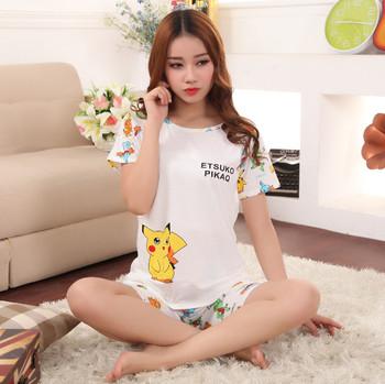Wholesale women pokemon sleepwear summer pajamas pikachu printing clothing  for girls 529206f9a