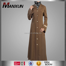 Exquisite Coffee Brown Denim Muslim Coat Fashion Abaya Maxi Dress Dubai Arab Design New Style In Middle East Region Women