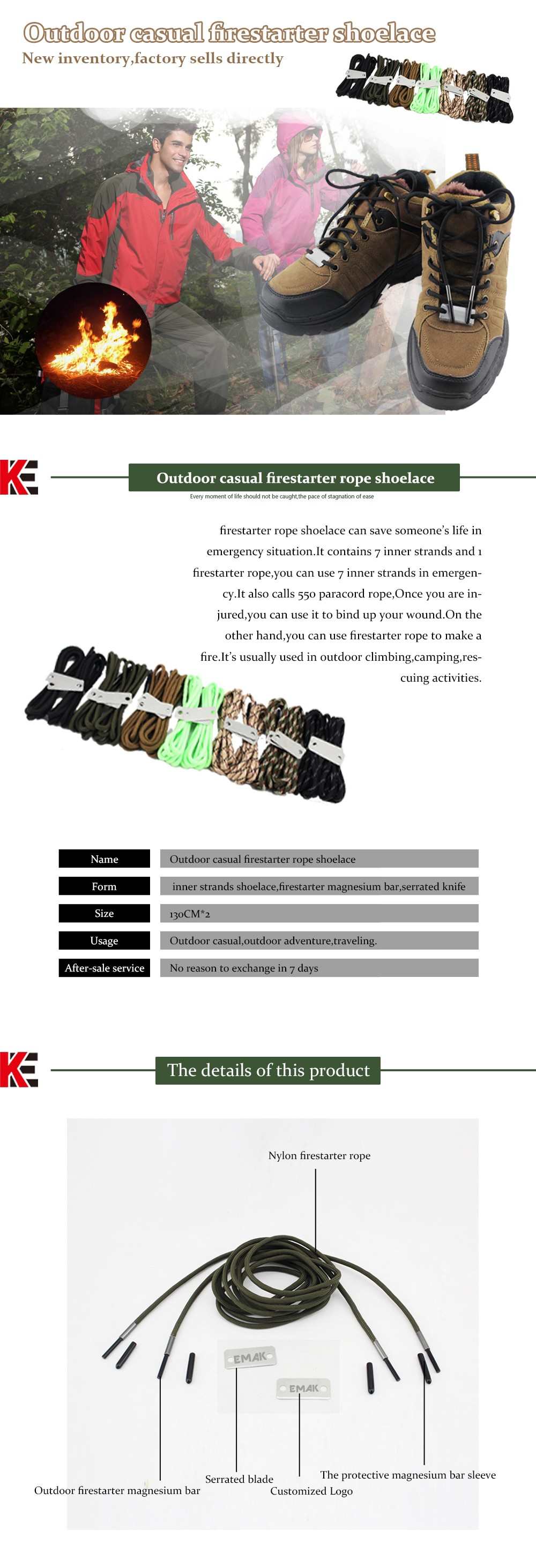 Outdoor Camping Tactical Multifunctional Camping Emergency Military Survival Hot Sale New Style Shoelace