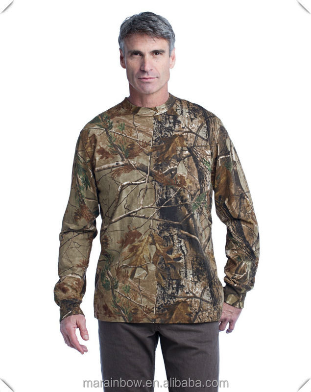 mens Outdoor Real tree Long Sleeve Explorer 100% dry fit sublimation printing T-Shirt with Pocket