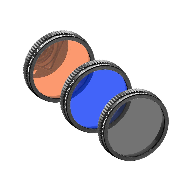 Neewer for DJI Phantom 4, DJI Phantom 3 Professional and Advanced, Full Color Lens Filter Set 3 Pieces: Full Grey Filter, Full Orange Filter and Full Blue Filter, Not for DJI Phantom 3 Standard