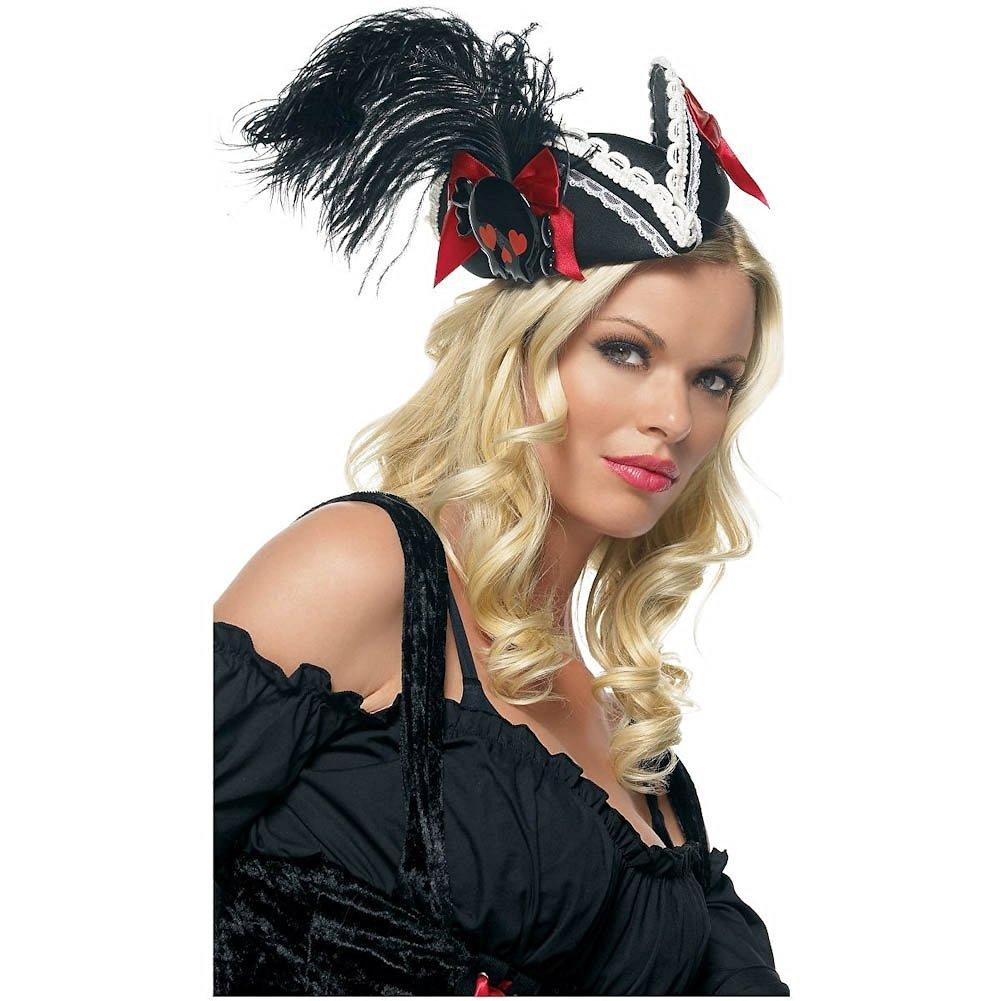 Black Feathered Pillbox Pirate Hat Adult Teen Junior Mini Halloween Costume Accessory