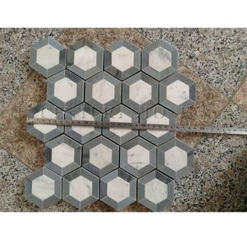 China Blue Marble And Carrara Marble Honeycomb Mosaic Floor Tile