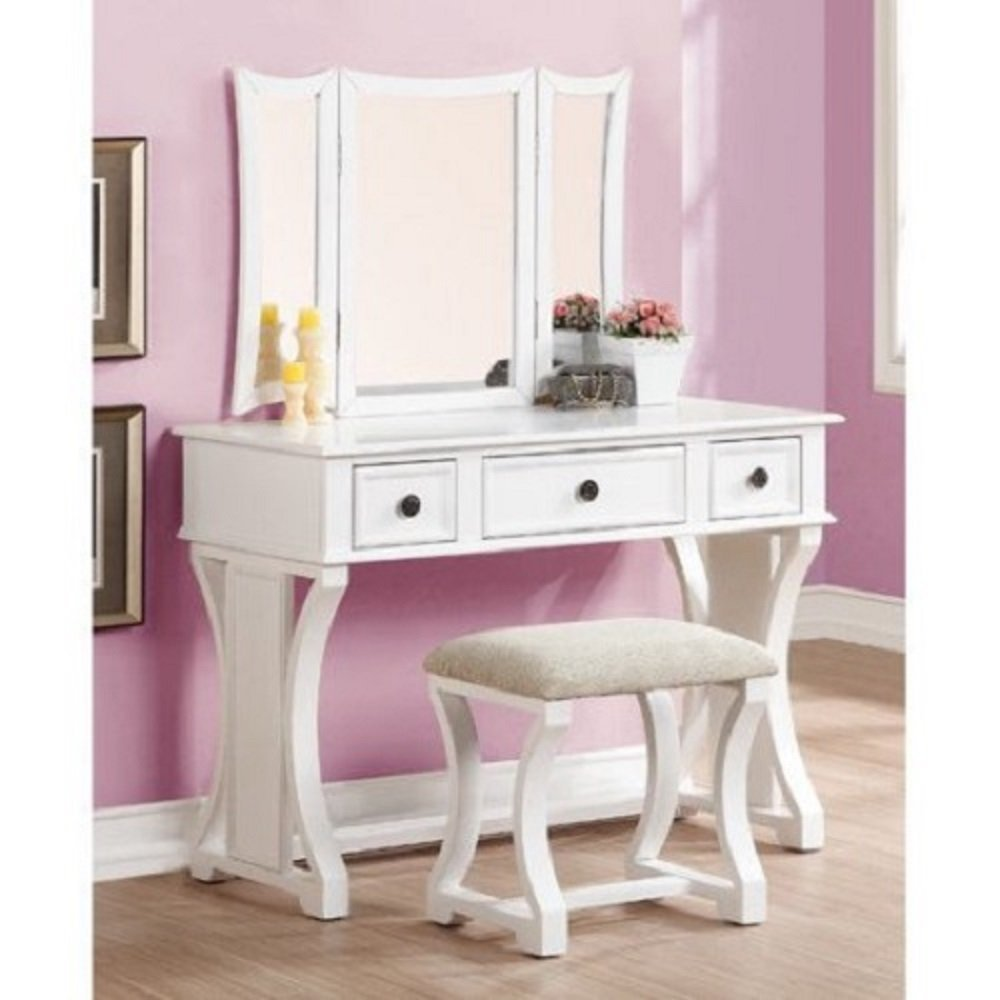 PNX Bobkona Edna Vanity Set, White, Tri-fold mirror vanity table with stool set, Two small drawer and one large center drawer, Antique brass-look drawer handle.