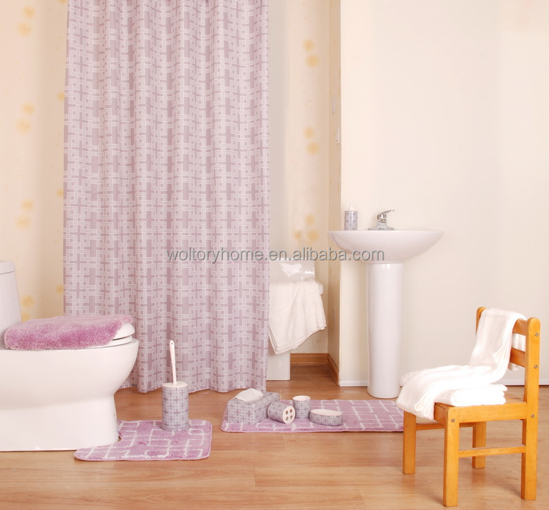Shower Curtain Creative Coordinate Bath Set With Match Mats And PS Accessories For Kids