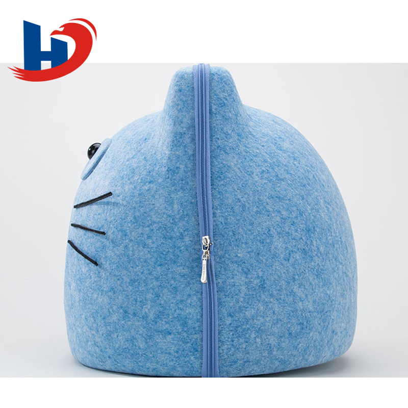 Easy Clean Indoor Use Felt Cat Cave Egg Shape Cute Felt Pet Bed With Zipper For Cat And Dog