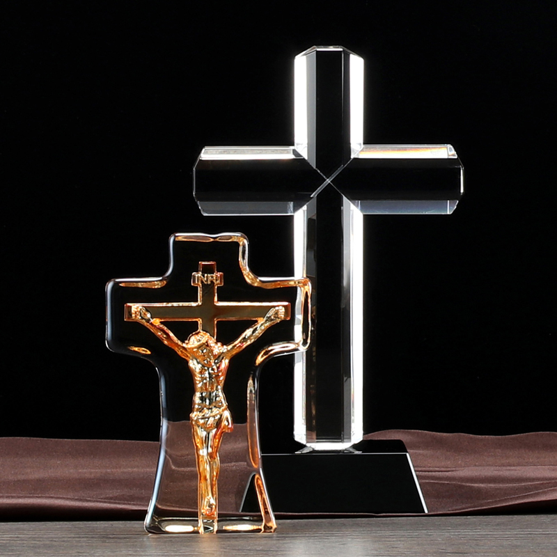 distinctive design Christian style crystal glass cross for collection