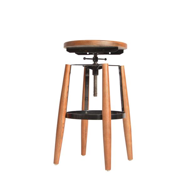 Hot Wooden Seat Bar Stool Round Adjule Oak Wood Stools Vintage Fixed