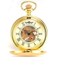 Vintage Golden Analog Pendant Mechanical Fob Chain Pocket Watch