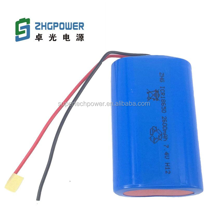 China supplier Customized Rechargeable ZHG 18650 2600mah 7.2V Lithium Battery Pack