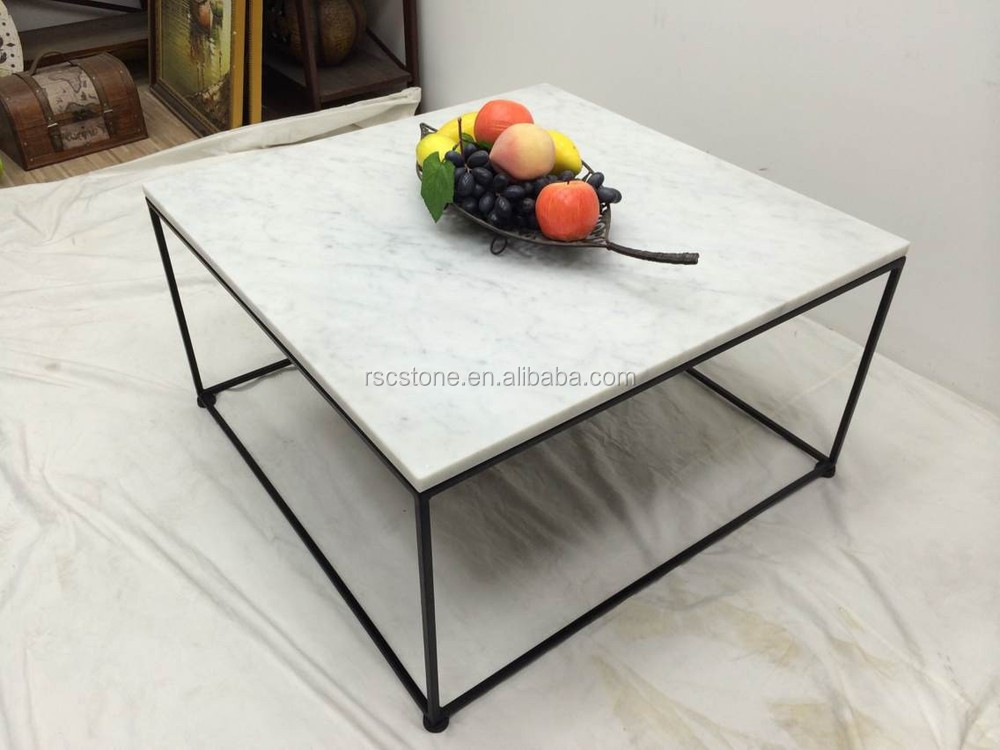 Cheap Modern Carrara White Marble Top Black Steel Coffee Table