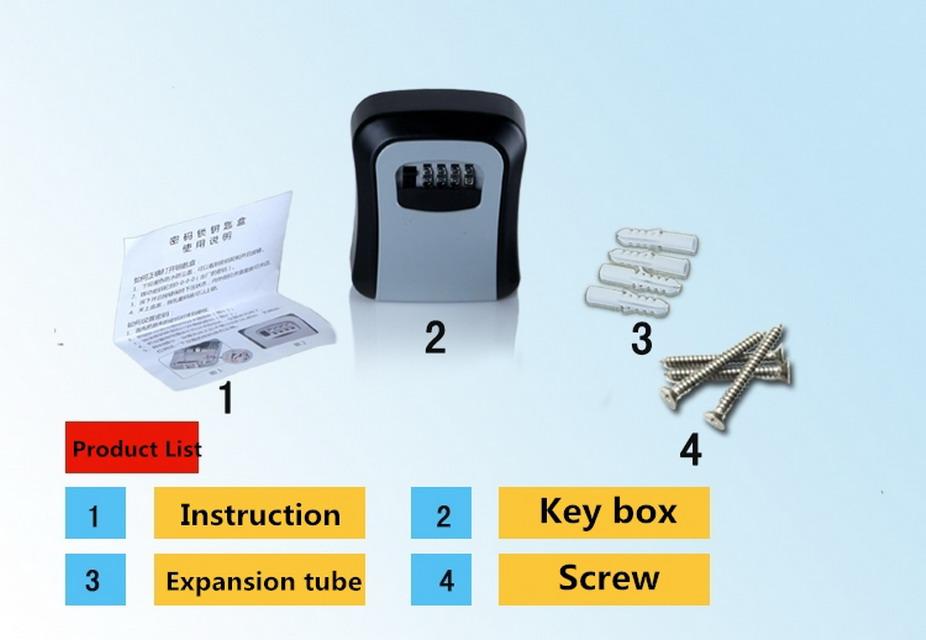 Wall Mount 4 Digit Key Storage Box Cabinet Security Safes Combination Heavy Lock Box