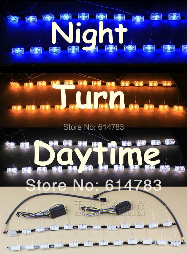 Тройной 3 цвет белый + синий ( ночь ) + янтарь гибкая головного света дневного света DRL газа с ночной синий + указатель поворота
