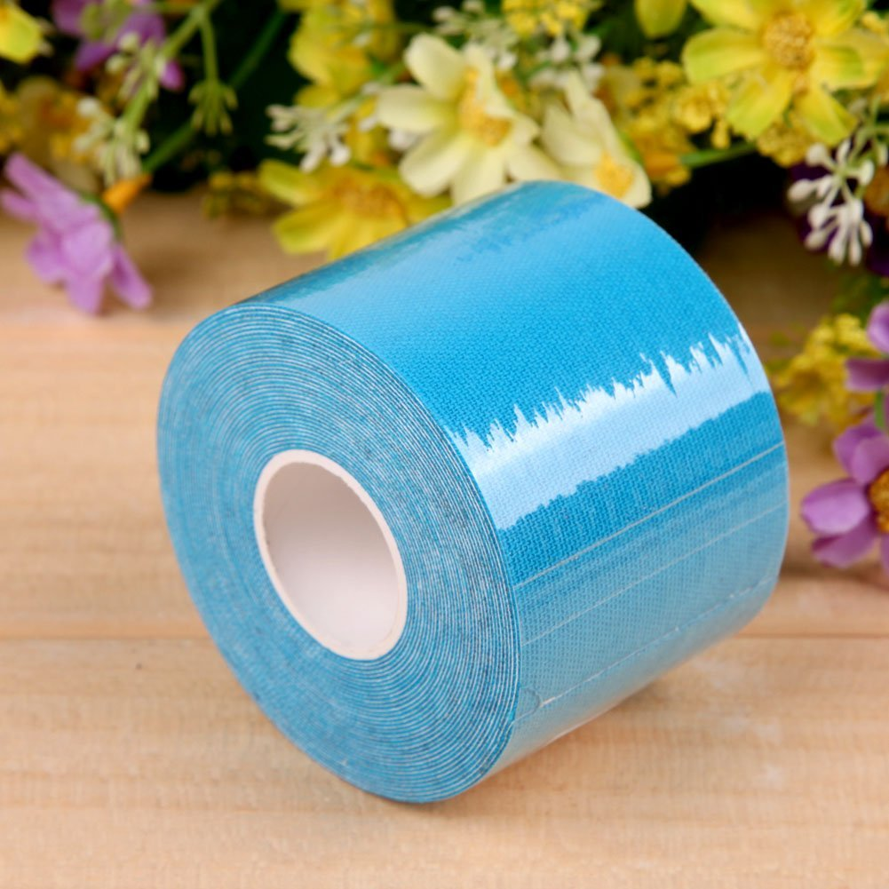 5m5cm Sports Muscle Care Tape Elastic Tape Kinesiology Elastic Tape Rope(Sky Blue)
