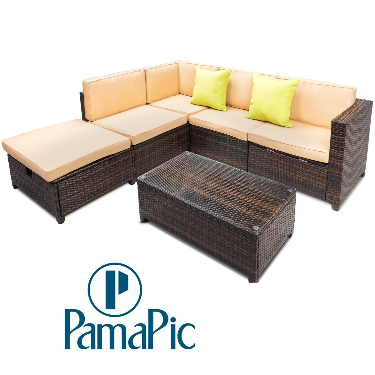 Outdoor Patio Furniture With Storage.Buy Pamapic 6pcs Outdoor Patio Furniture Set Adjustable Reclining