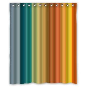 Brightness Colorful Rainbow Stripes Simple Pattern Texture- Personalize Custom Bathroom Shower Curtain Waterproof Polyester Fabric 60(w)x72(h) Rings Included