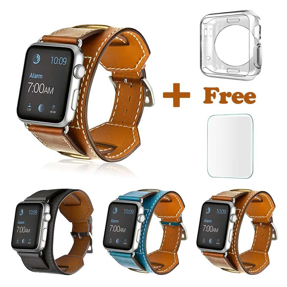 iWatch Cuff Band, Apple Watch Band Leather Genuine, Bracelet Leather Watchband W/ Adapter + Tempered Glass Screen Protector + Clear Silicone Protective Case for Apple Watch 42mm All Models, Brown