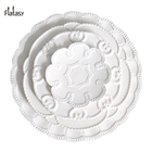 Good quality white floral pattern embossed porcelain charger plates 6.5/8.5/10.5/13 inch for wedding and home
