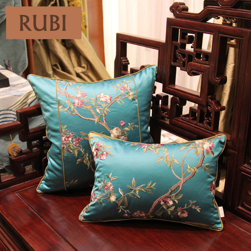 RUBI imitated silk fabric pillows (without inner)embroidered cushion luxury decorative sofa home decor funda cojin decorativos