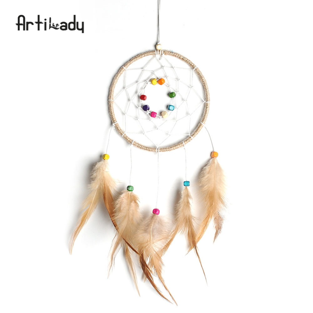 Artilady Universal Handmade Dream Catcher with Feathers Hanging Decoration <strong>Craft</strong> Gift