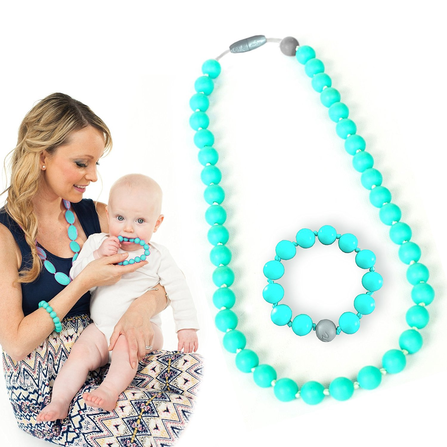 Maven Gifts: Itzy Ritzy Teething Happens Silicone Jewelry Baby Teething Necklace Bead, Turquoise with Itzy Ritzy Teething Happens Silicone Jewelry Baby Teething Bracelet Bead, Turquoise
