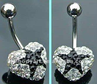 Black Star Design Diamond Heart Belly Bar Navel Ring Body Piercing Jewelry Amdq12090329