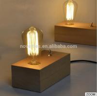 Vintage Edison light bulb Table lamp Wood base with glass lampshade edison desk lamp
