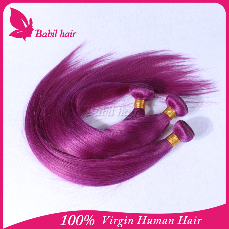 Permanent Bright purple colored Brazilian Remy Human Hair weave light purple Color buy direct from china manufacturer