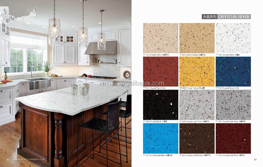 Artificial quartz stones colorful crystal quartz quartz counter top slabs