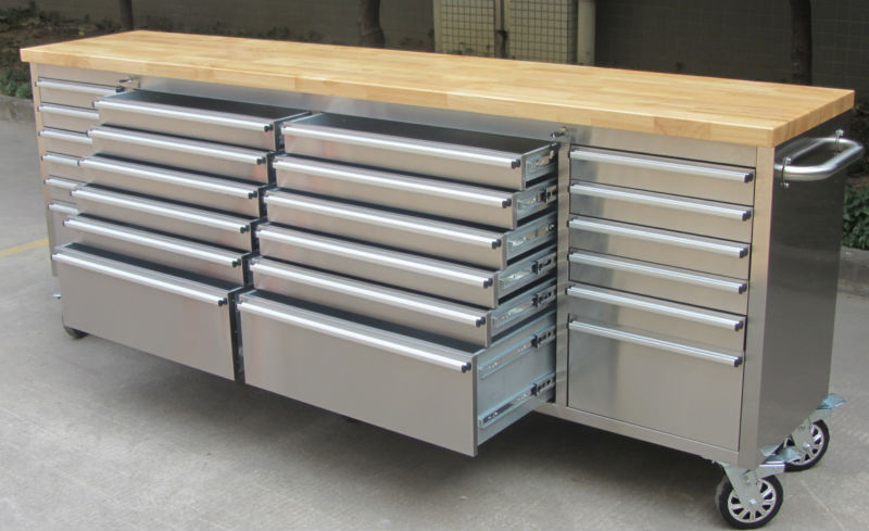 96 Inch Large Stainless Steel Tool Chest With 24 Drawers