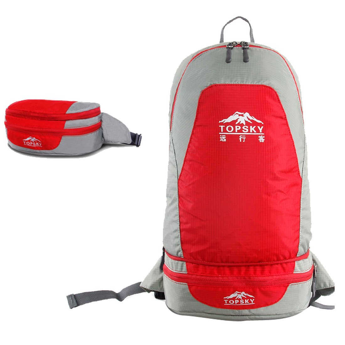Oxking Topsky Outdoor Hiking Climbing Clycling Canvas Backpack Foldable Ultralight Daypacks Waterproof Professional Mountaineering Backpack T33602 Shoulder Travel Skin Backpack 20L Picnic Backpacks Unisex Trekking Travel Waist Bag Rucksack Multi Colors (Red)