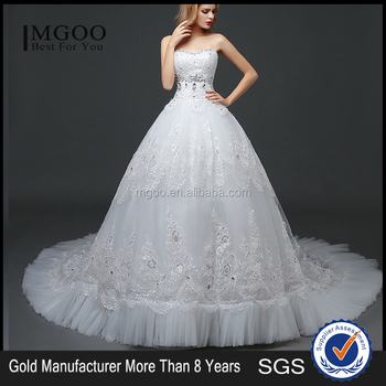 Mgoo High Quality Empire Hand Work Tail Wedding Dress Korea Style Bridal Strapless Italian
